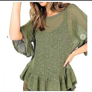 Semi-Sheer Hi-Lo Ruffled Hem Tunic